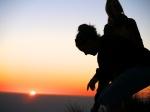 På veien ned, hadde vi solnedgangen i bakgrunnen