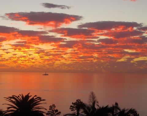 Solnedgang på camps bay stranden